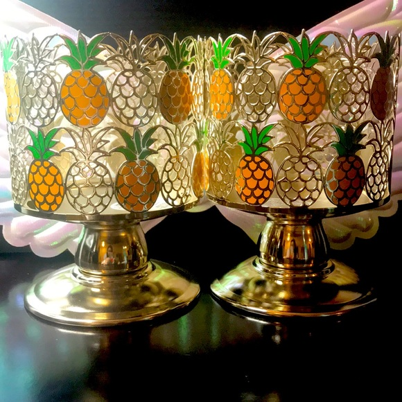 BBW Pineapple 3 wick candle holder 2x